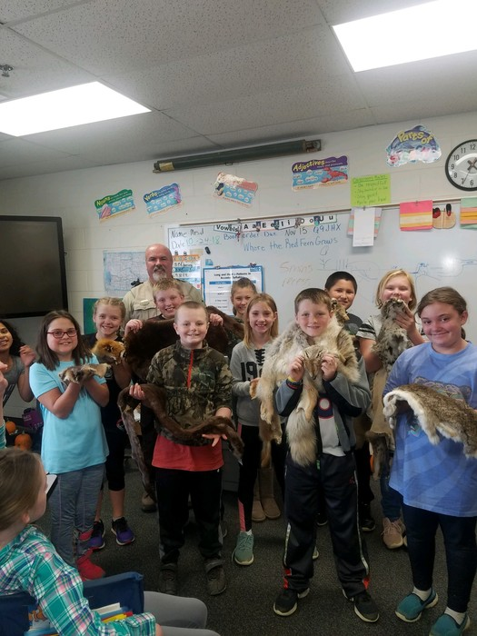 Game warden Brian Humphrey and our fourth graders