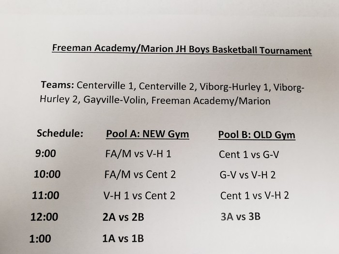 December 1 JH BBB Tourney Schedule