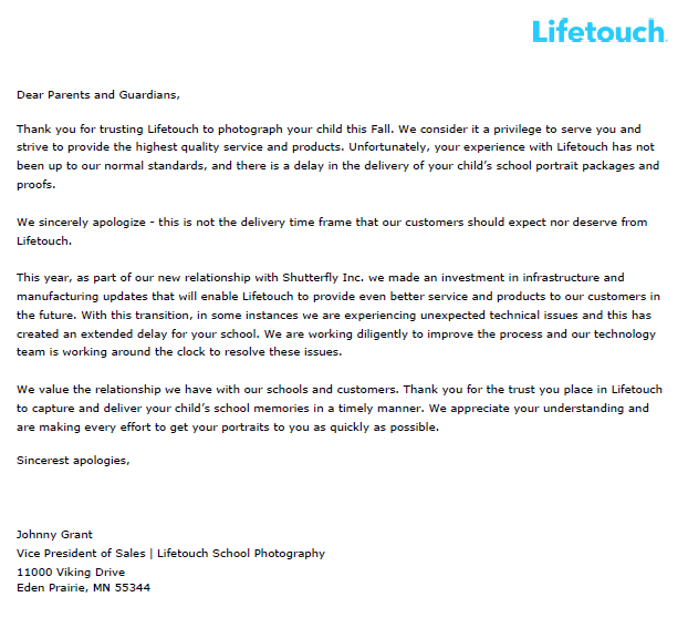 Lifetouch Letter